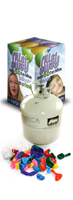 Adams Gas Fill'N'Away Disposable Helium Cylinder With 50 Balloons and Ribbon Image